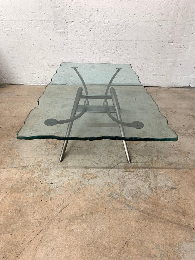 Postmodern Steel and Glass Coffee or Cocktail Table For Sale 1