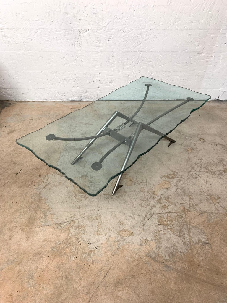 Postmodern Steel and Glass Coffee or Cocktail Table For Sale 3