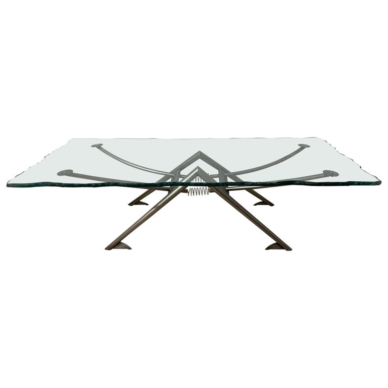Postmodern Steel and Glass Coffee or Cocktail Table For Sale