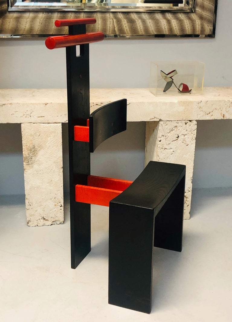 Post Modern Studio Chair Sculpture Valet in Ebonized Oak For Sale 7