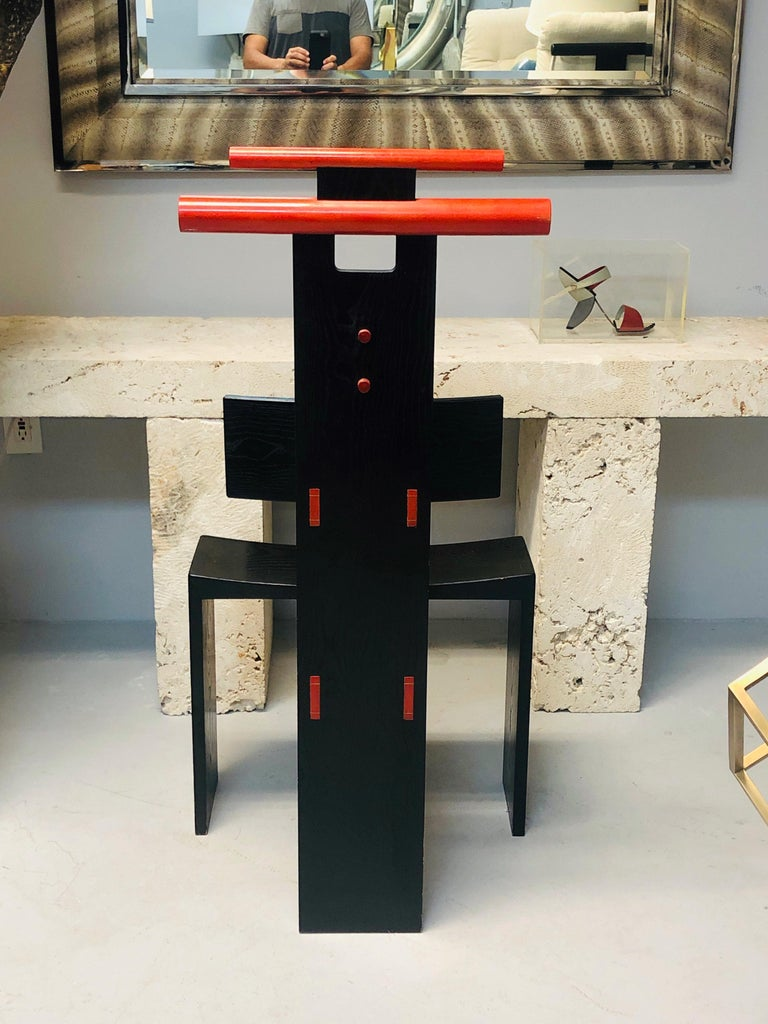 Post Modern Studio Chair Sculpture Valet in Ebonized Oak For Sale 8