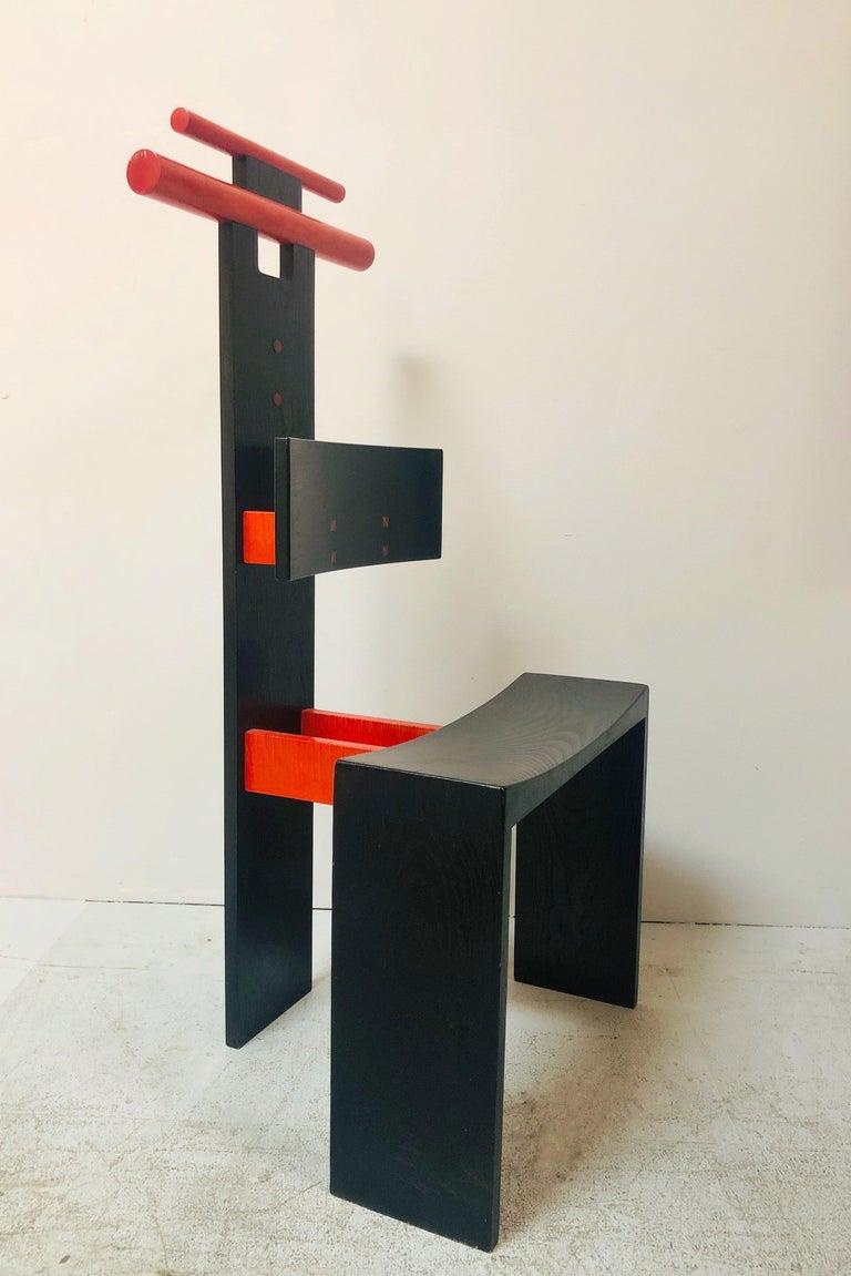 American Post Modern Studio Chair Sculpture Valet in Ebonized Oak For Sale