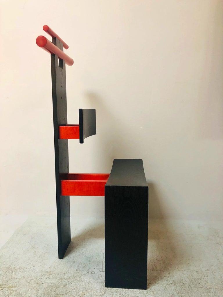 Late 20th Century Post Modern Studio Chair Sculpture Valet in Ebonized Oak For Sale