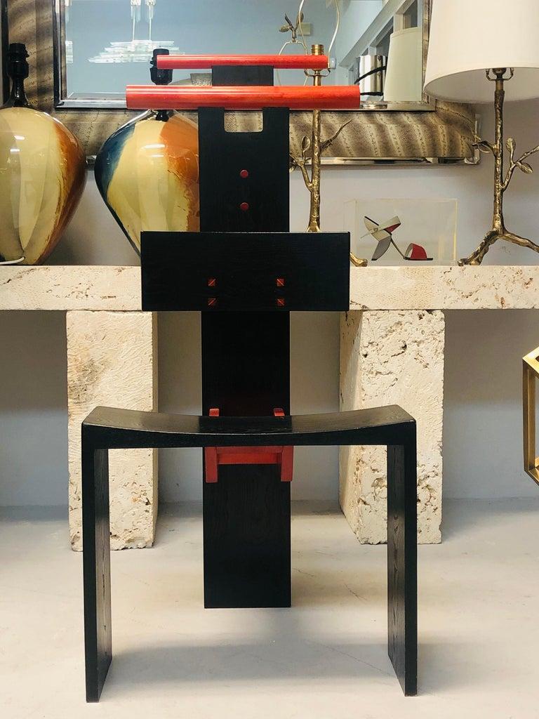 Post Modern Studio Chair Sculpture Valet in Ebonized Oak For Sale 2