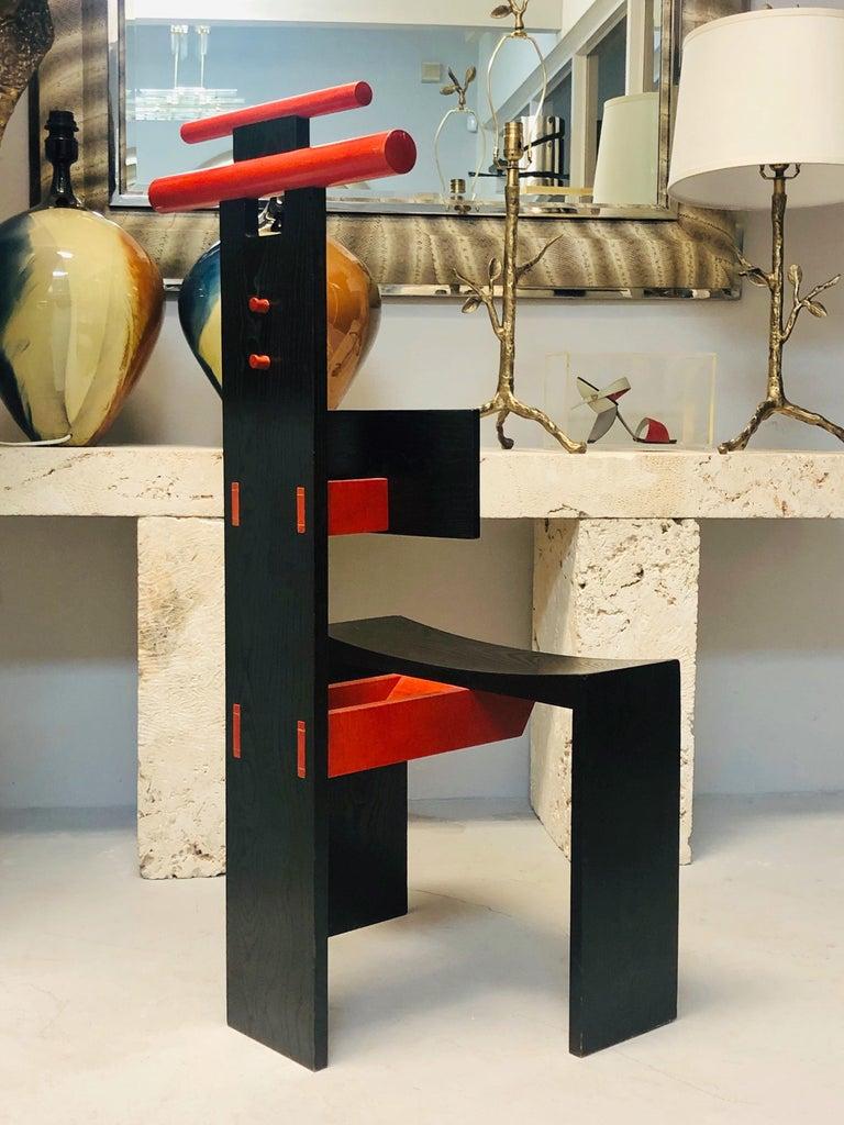 Post Modern Studio Chair Sculpture Valet in Ebonized Oak For Sale 3