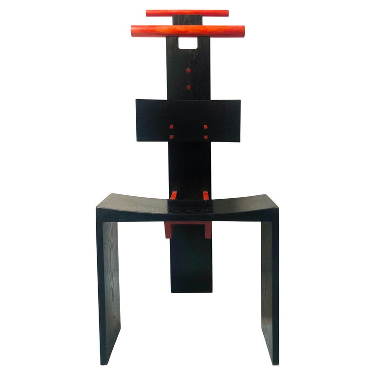 Post Modern Studio Chair Sculpture Valet in Ebonized Oak For Sale