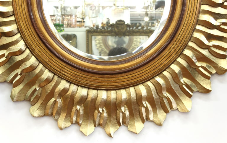 Unknown Post-Modern Sunburst Mirror in Carved Giltwood Frame For Sale