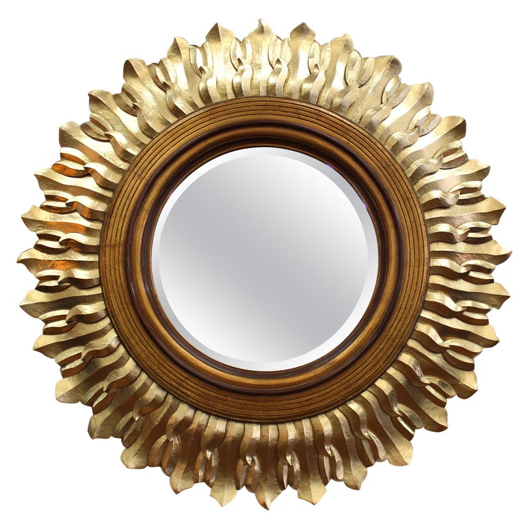 Post-Modern Sunburst Mirror in Carved Giltwood Frame For Sale