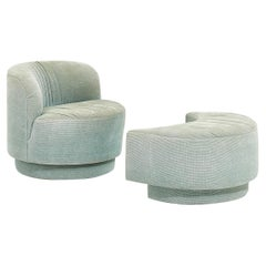 Post Modern Swivel Chair with Pull Up Ottoman, 1980