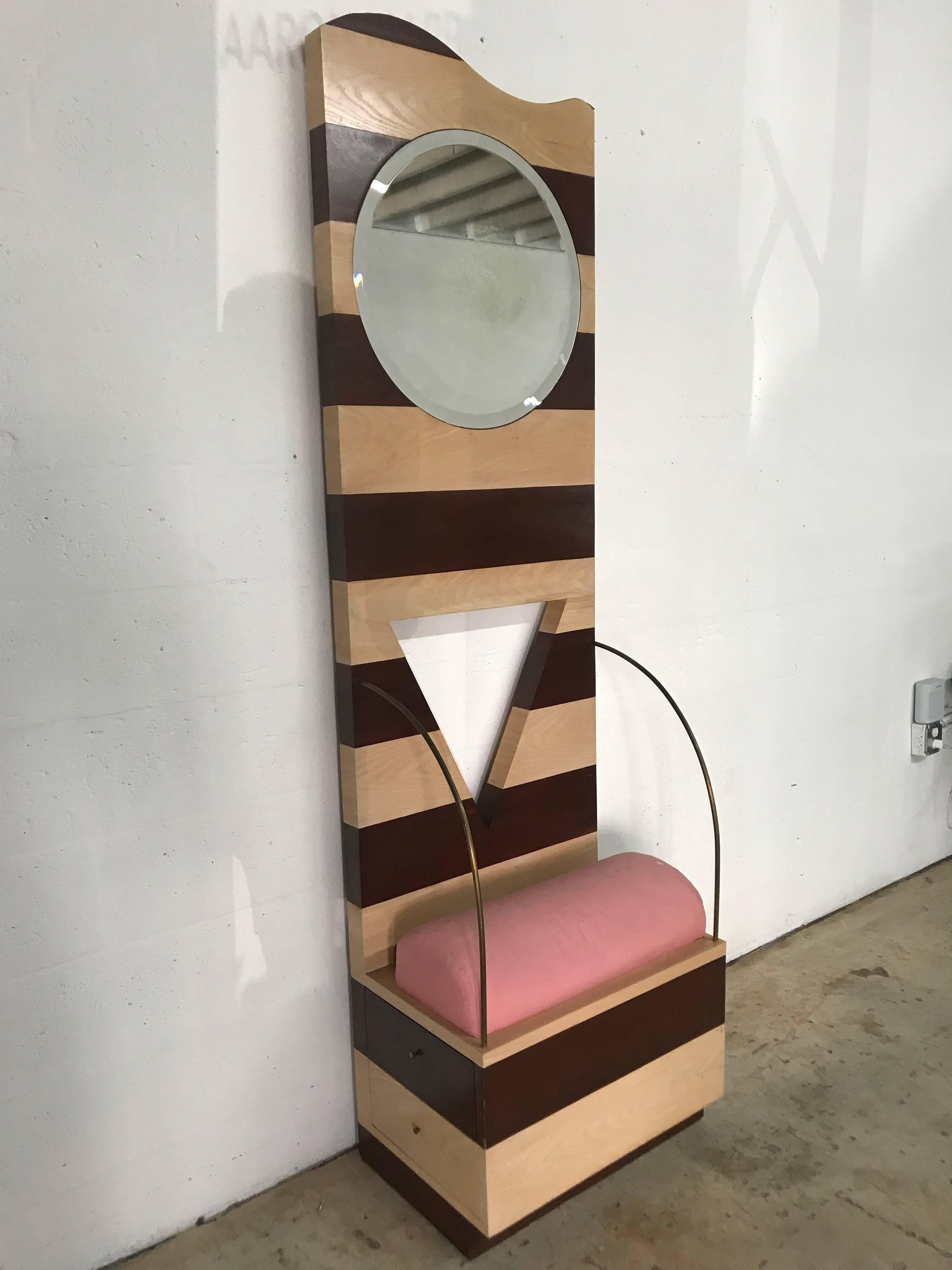 Post Modern Throne Or Entry Chair With Mirror For Sale At 1stdibs
