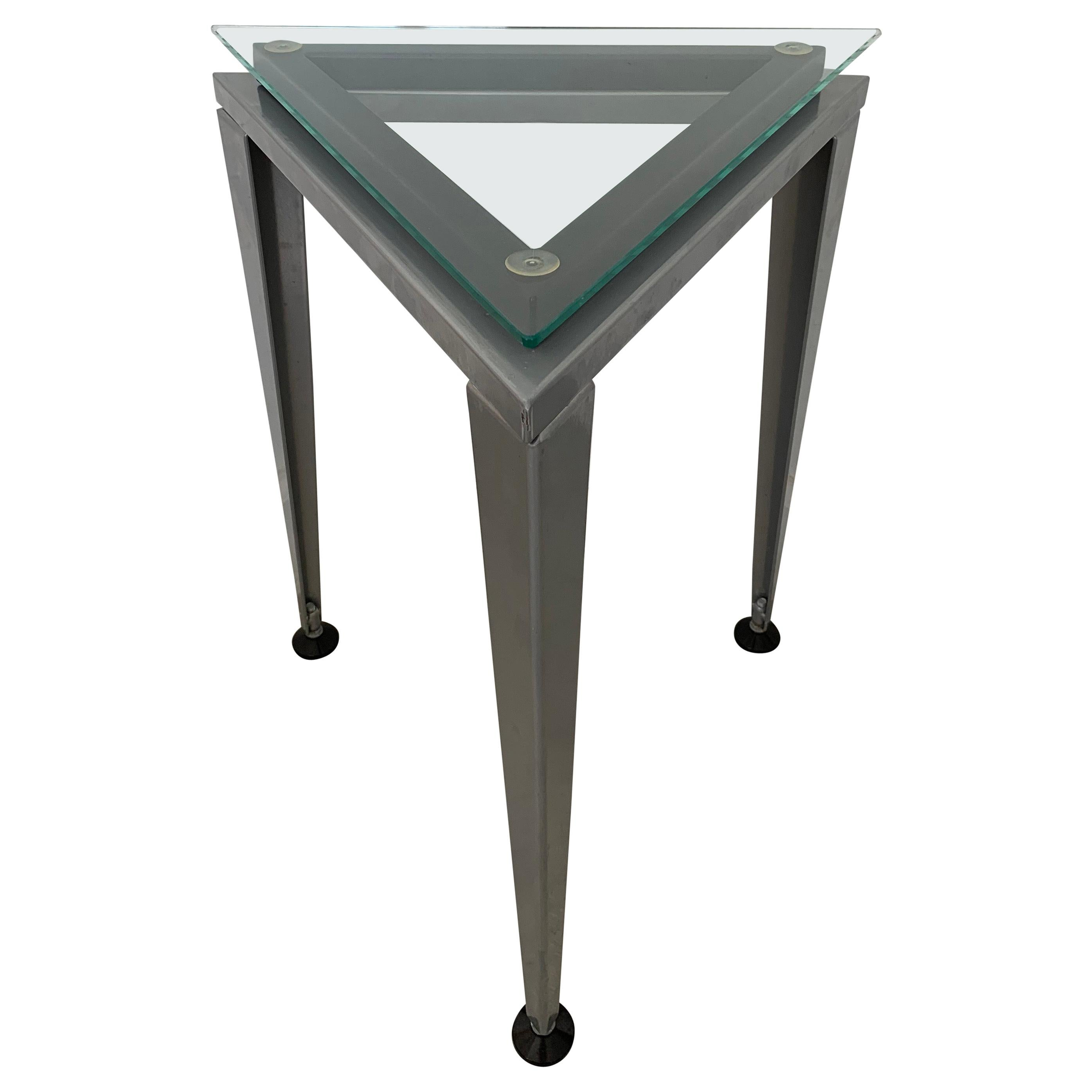 Postmodern Triangular Glass and Steel Occasional or Drinks Tables