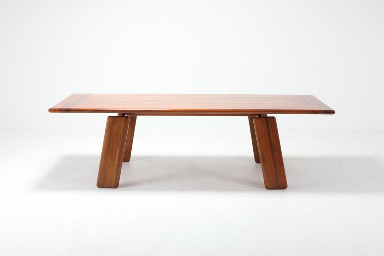 European Postmodern Walnut Dining Table by Afra & Tobia Scarpa For Sale