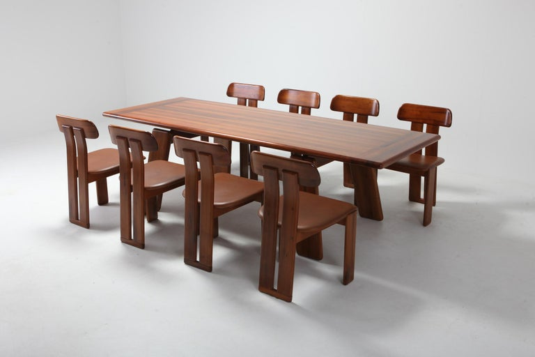 Postmodern Walnut Dining Table by Afra & Tobia Scarpa For Sale 3