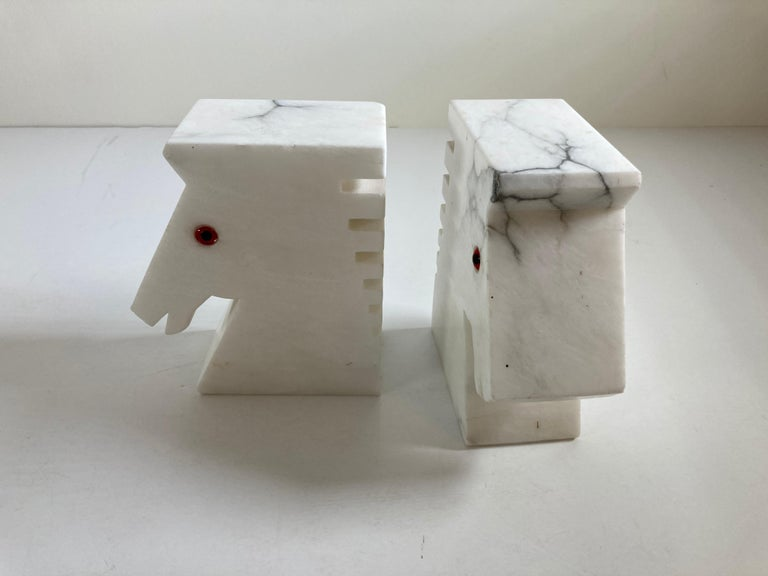 Postmodern White Alabaster Horse Bust Bookends For Sale 2