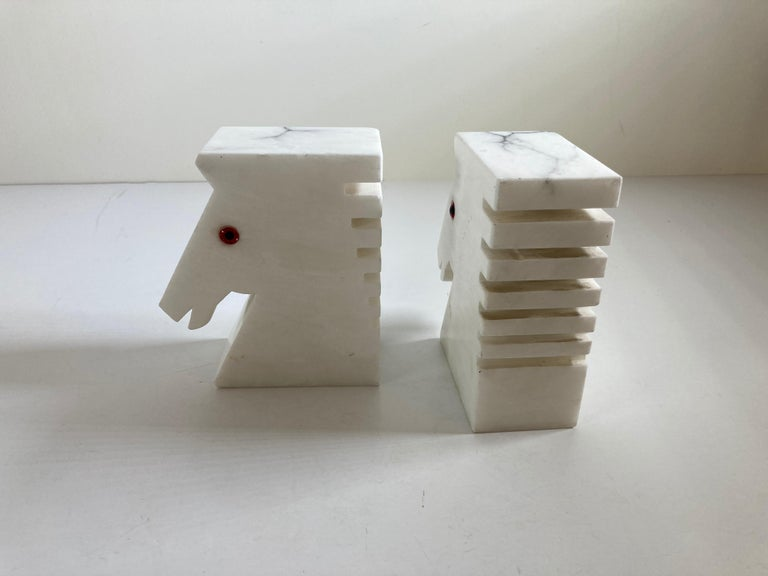 Postmodern White Alabaster Horse Bust Bookends For Sale 3