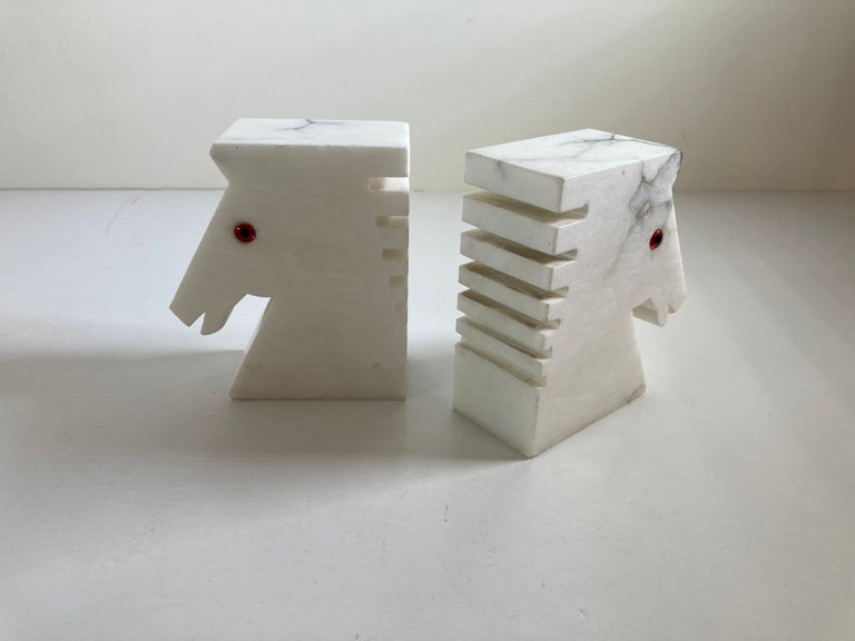 Postmodern White Alabaster Horse Bust Bookends For Sale 4