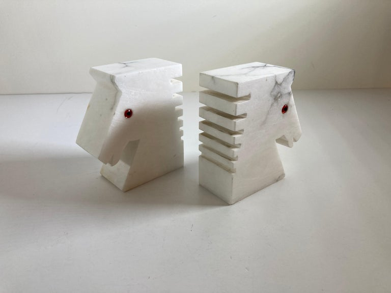 Postmodern White Alabaster Horse Bust Bookends For Sale 5