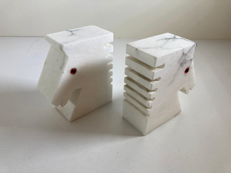Postmodern White Alabaster Horse Bust Bookends For Sale 6