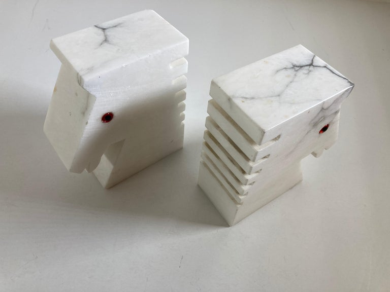 Postmodern White Alabaster Horse Bust Bookends For Sale 8