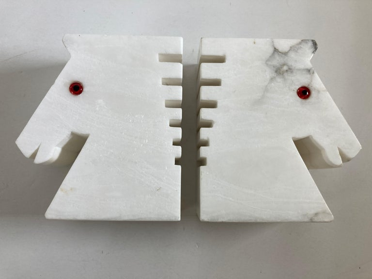 Postmodern White Alabaster Horse Bust Bookends For Sale 9