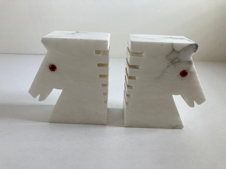 Exquisite vintage pair of white alabaster horse sculpture bookends