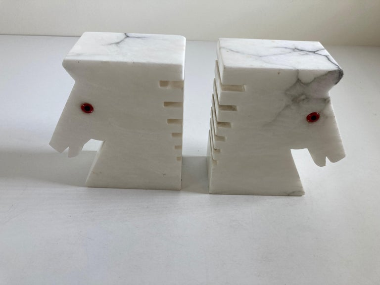 Art Deco Postmodern White Alabaster Horse Bust Bookends For Sale