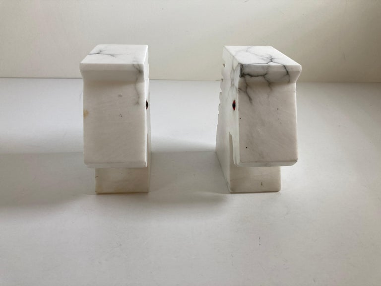 Hand-Carved Postmodern White Alabaster Horse Bust Bookends For Sale