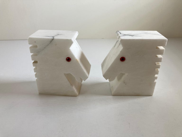 20th Century Postmodern White Alabaster Horse Bust Bookends For Sale