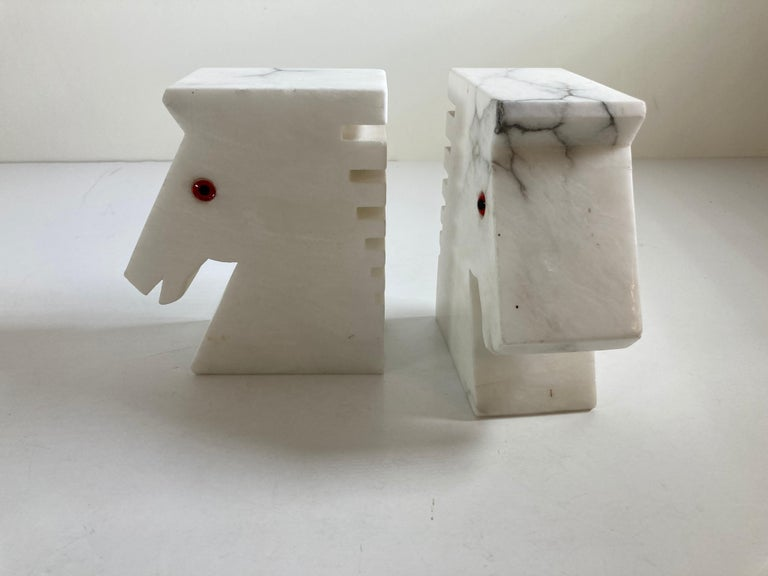 Postmodern White Alabaster Horse Bust Bookends For Sale 1
