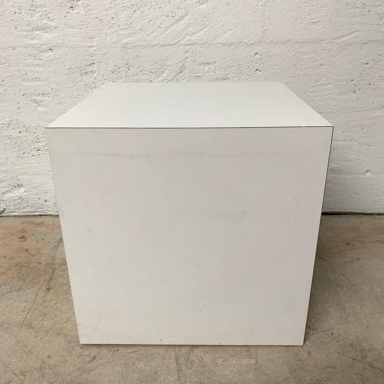 Post-Modern Postmodern White Laminate Cube Side End or Occasional Table For Sale