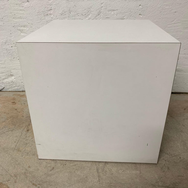 American Postmodern White Laminate Cube Side End or Occasional Table For Sale