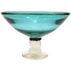 Post-Modernist Art Glass Signed Compote in Turquoise