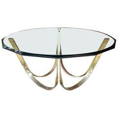 Post-Modernist Geometric Facted Brass-Plated Glass Coffee Table Designer Regency