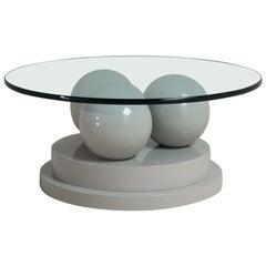 Post Modernist Grey Lacquered Coffee Table, 1980s