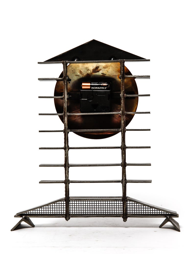 20th Century Post-Modernist Metal Mantel Clock For Sale