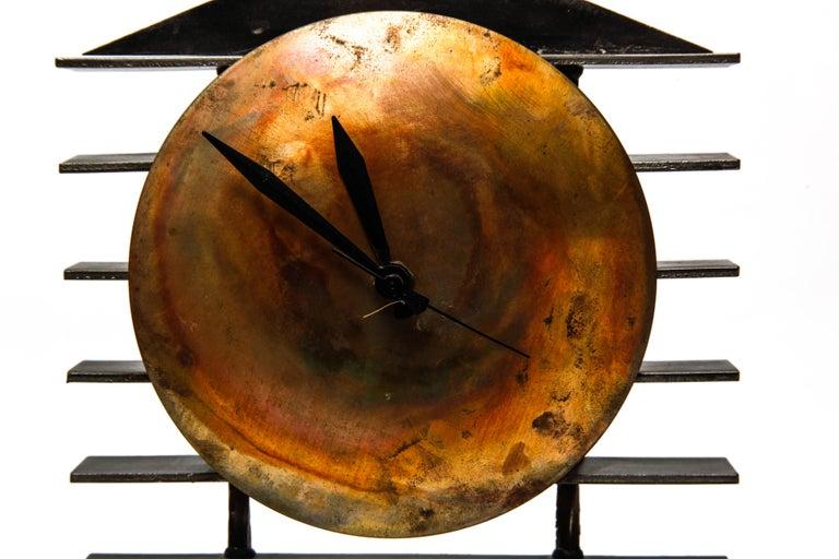 Post-Modernist Metal Mantel Clock For Sale 2