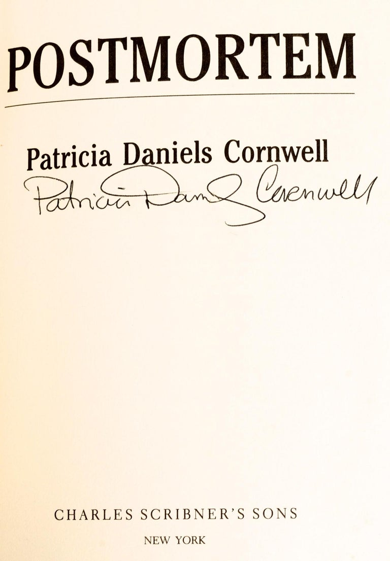 Post-Mortem by Patricia D. Cornwell. Charles Scribner's Sons, New York, 1990. Signed First Edition, 1st printing hardcover with dust jacket. This was the first Kay Scarpetta novel and is an important 'Collector's Copy' of an important mystery debut.