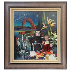 """Post Surrealist Oil Painting """"the Dolls"""" by Asher Ein Dor, Israel, 1980"""