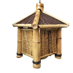Bamboo Asian Hut Style Chandelier Hanging Lamp, 2 Available