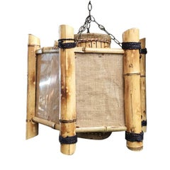 Post-War Bamboo Octagon Chandelier Hanging Lamp