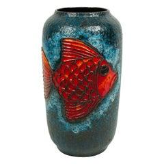 Post-War Blue and Orange Ceramic Fish Design Vase