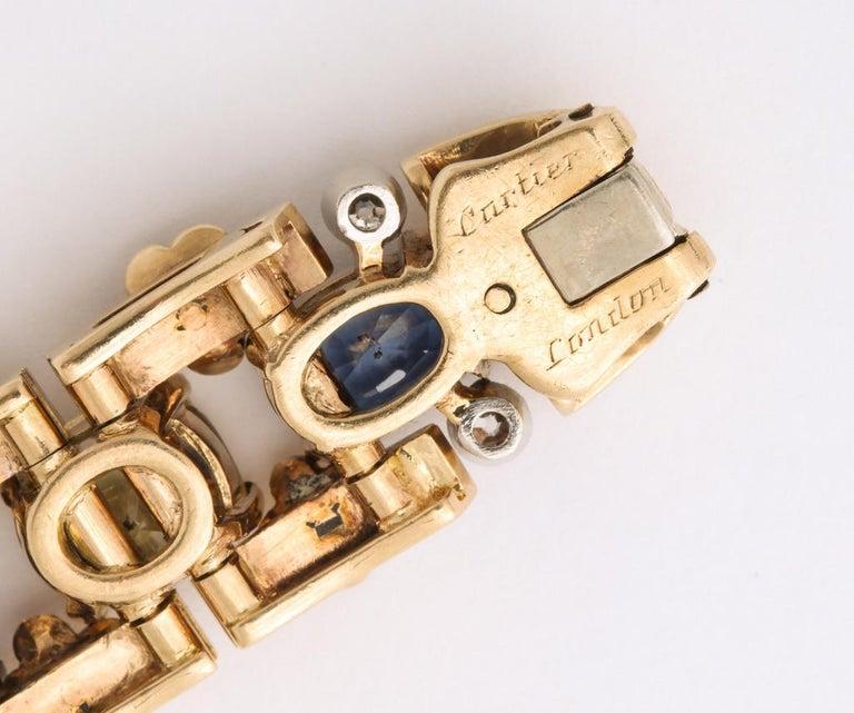 Cartier London Retro Multi-Color Sapphire Diamond Gold Bracelet For Sale 4