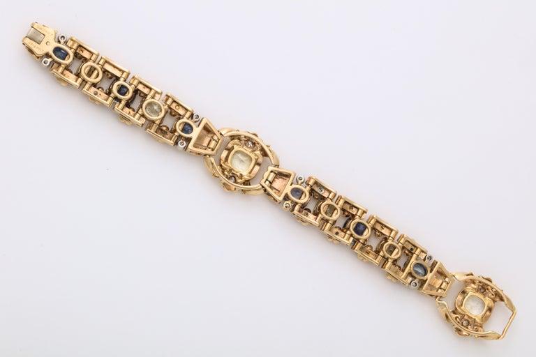 Cartier London Retro Multi-Color Sapphire Diamond Gold Bracelet For Sale 5