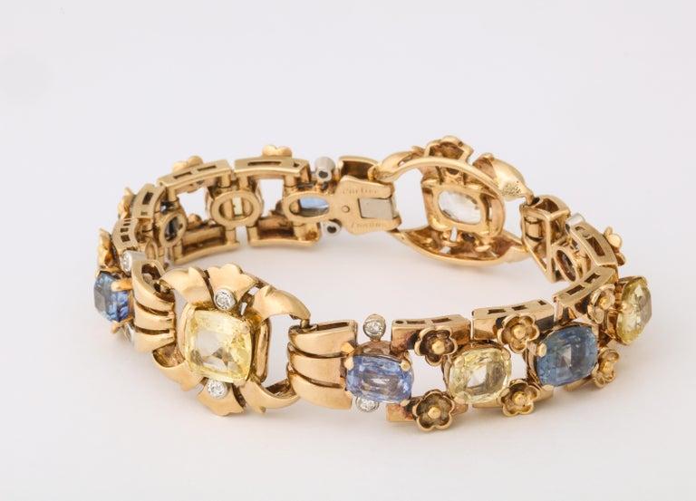 Post-War  Cartier London Retro Multi-Color Sapphire Diamond Gold Bracelet For Sale