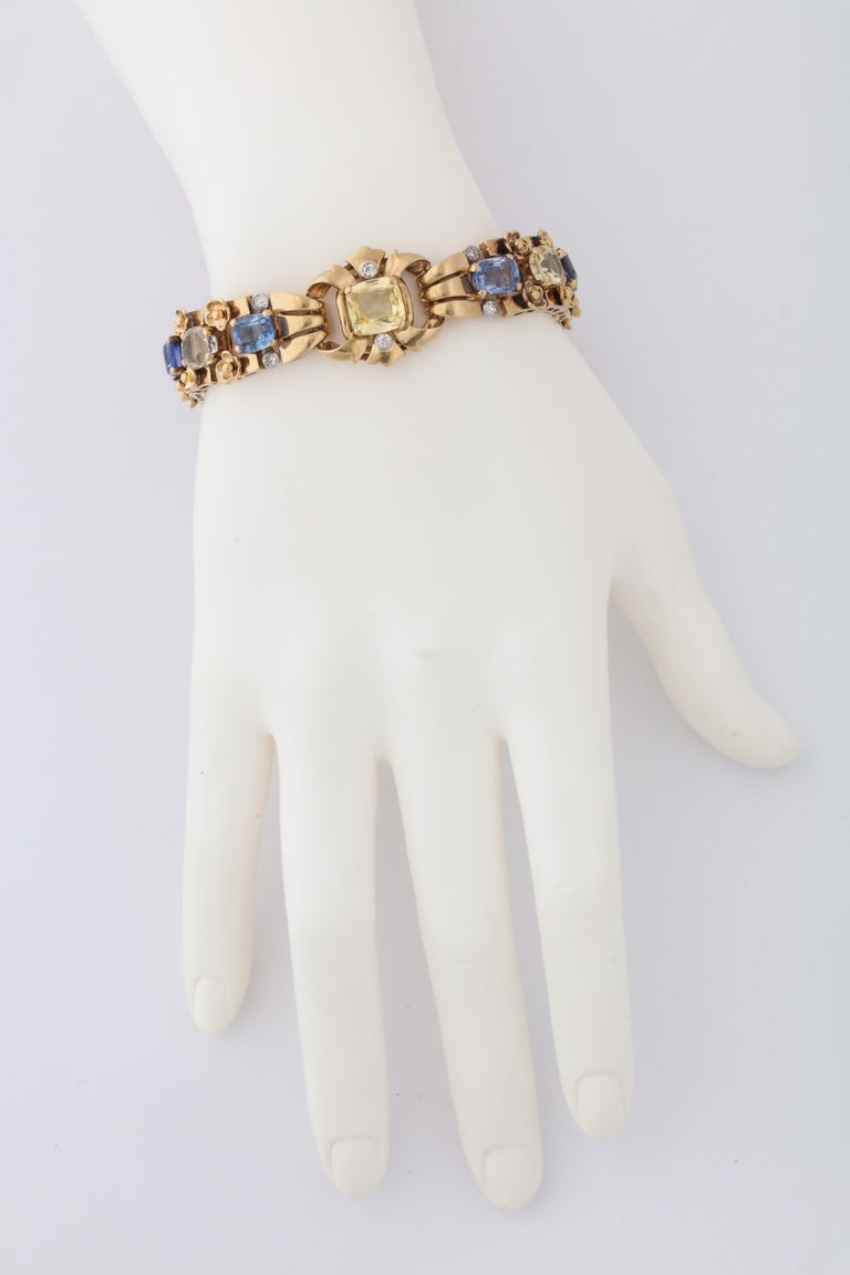 Cushion Cut  Cartier London Retro Multi-Color Sapphire Diamond Gold Bracelet For Sale