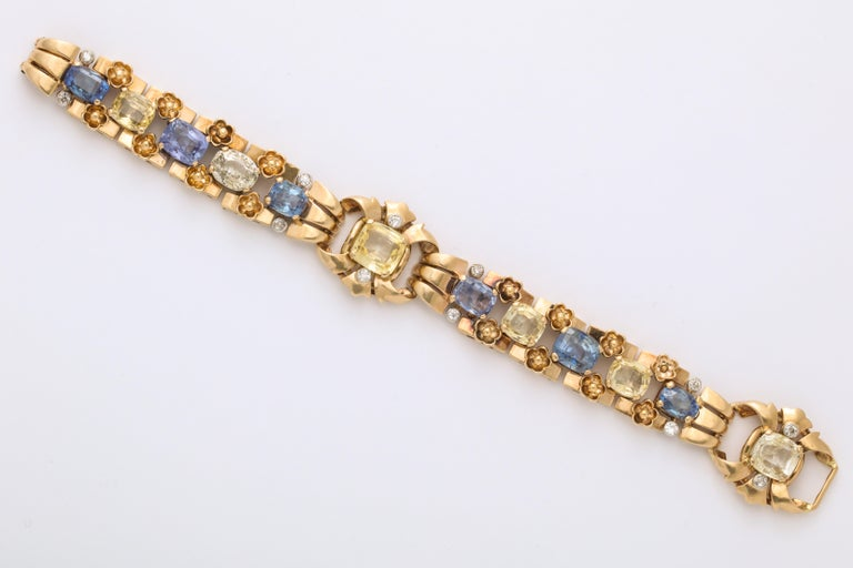 Cartier London Retro Multi-Color Sapphire Diamond Gold Bracelet In Good Condition For Sale In Bal Harbour, FL
