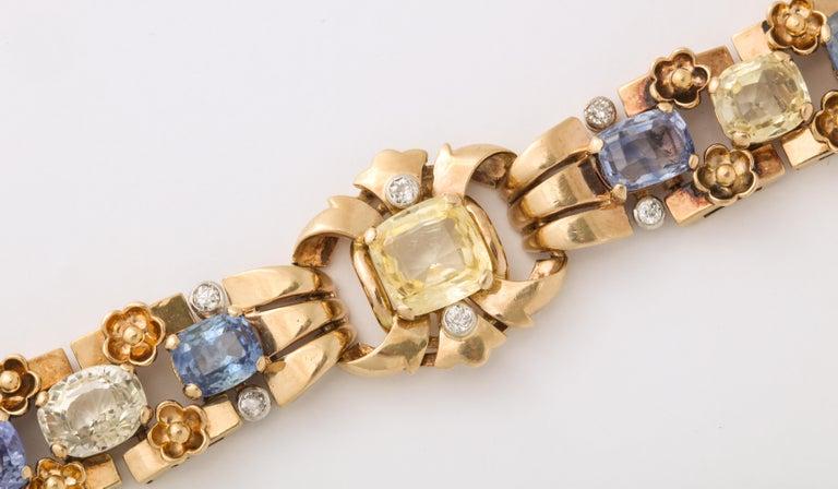 Women's or Men's  Cartier London Retro Multi-Color Sapphire Diamond Gold Bracelet For Sale