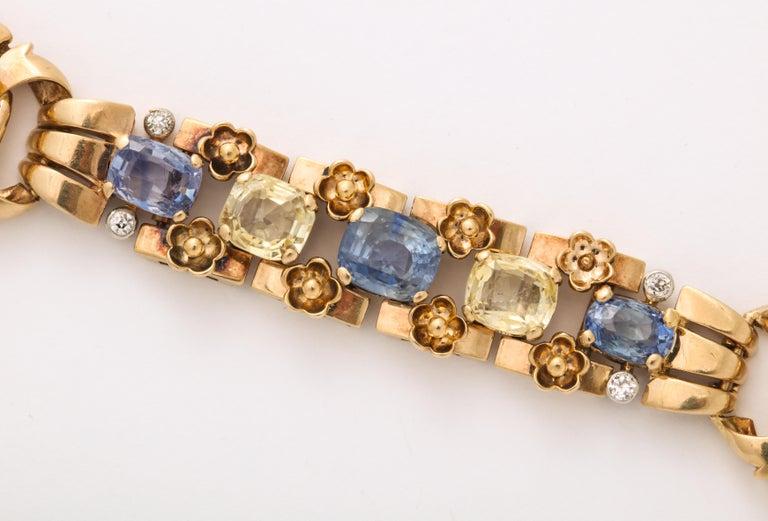 Cartier London Retro Multi-Color Sapphire Diamond Gold Bracelet For Sale 1