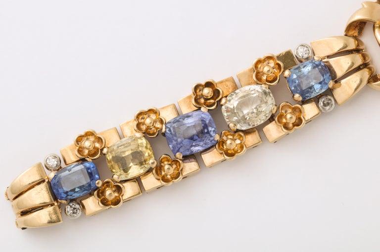 Cartier London Retro Multi-Color Sapphire Diamond Gold Bracelet For Sale 2