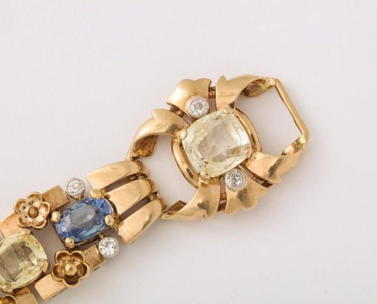 Cartier London Retro Multi-Color Sapphire Diamond Gold Bracelet For Sale 3